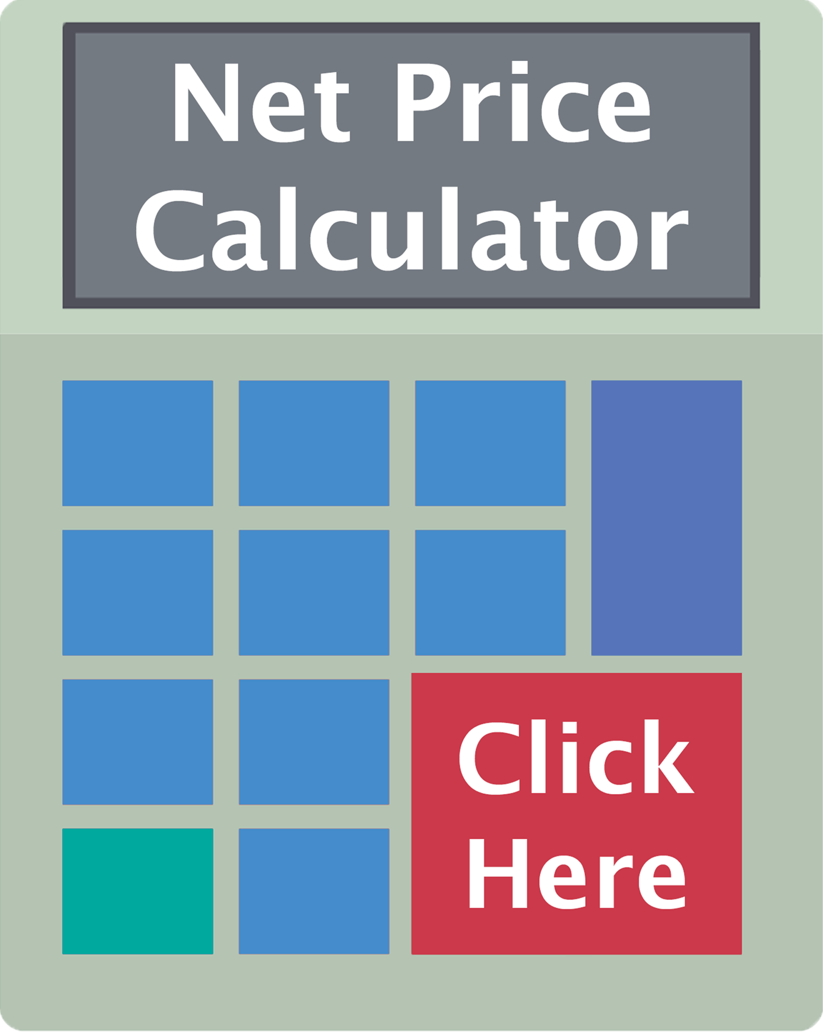 An illustration of a calculator with the words calculator and click here on it.