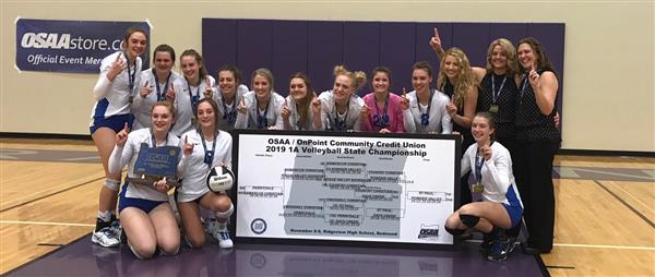 Volleyball Team Posing with State Team Brackets