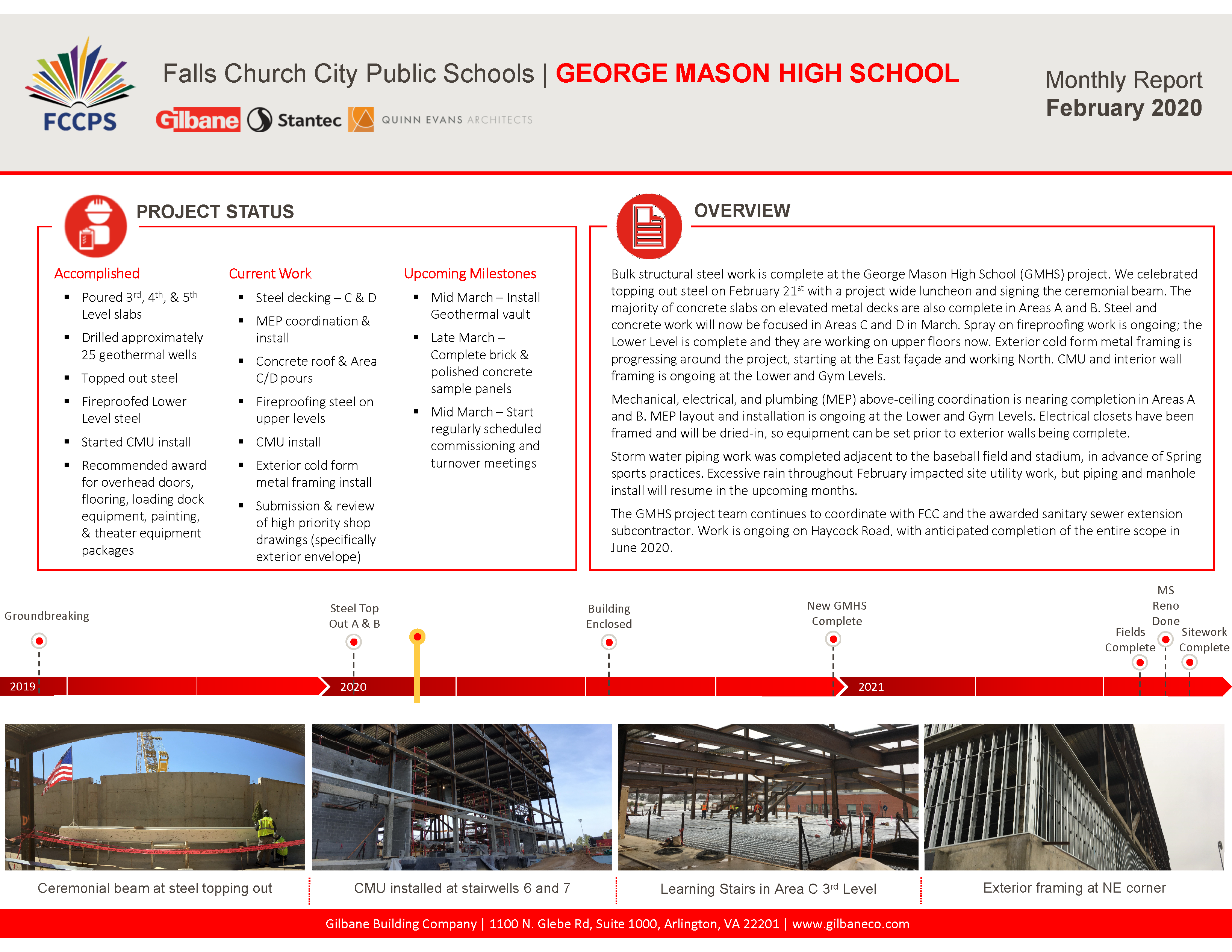 February 2020 Gilbane Monthly report on the George mason High School Project