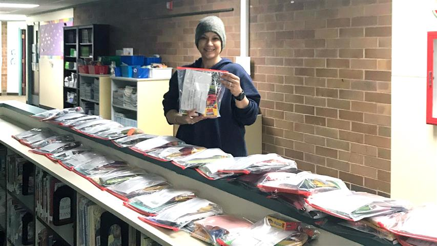 Kim Bearden, CES ELL Teacher, (pictured) and Principal Ingrid Colvard packaged and delivered 80 packets of school supplies for families without computers or internet access at home to enable home learning for students