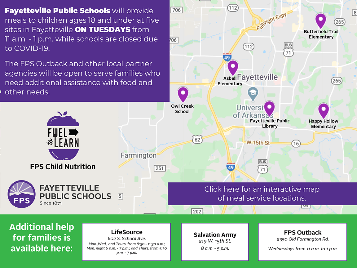 FPS Student Meal Service Interactive Map - Click on the mpa to see all of the map pins to identify Student Meal Service Locations.