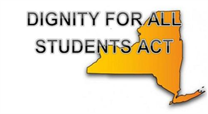 Dignity for All Students Act text on top of New York state