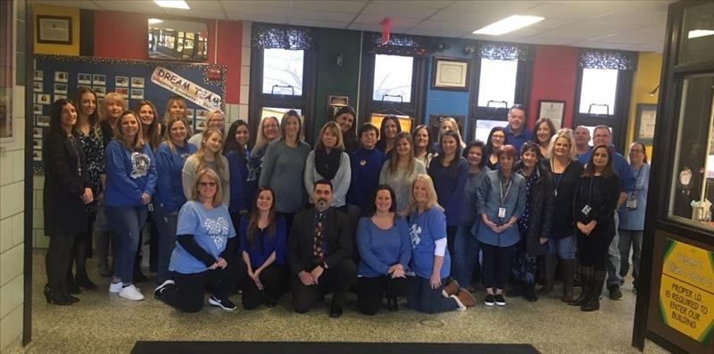 Faculty and Staff wore blue in remembrance of Thomas Valva.