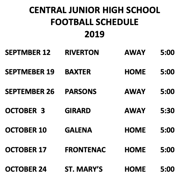 Central Junior High School Football Schedule
