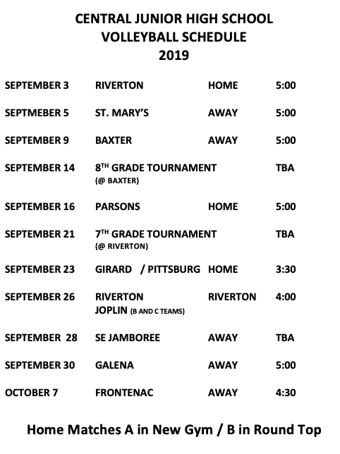 Central Junior High School Volleyball Schedule 2019