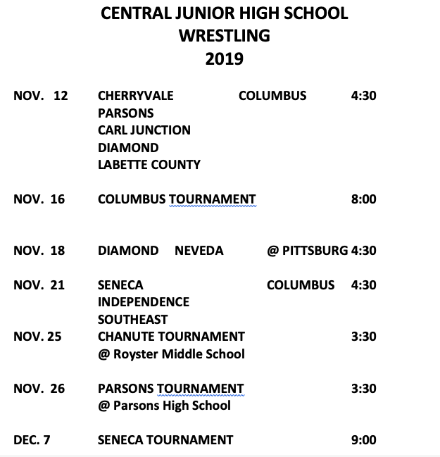 Central Junior High School Wrestling 2019