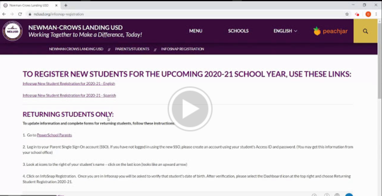 Link to REturning Student Registration Video