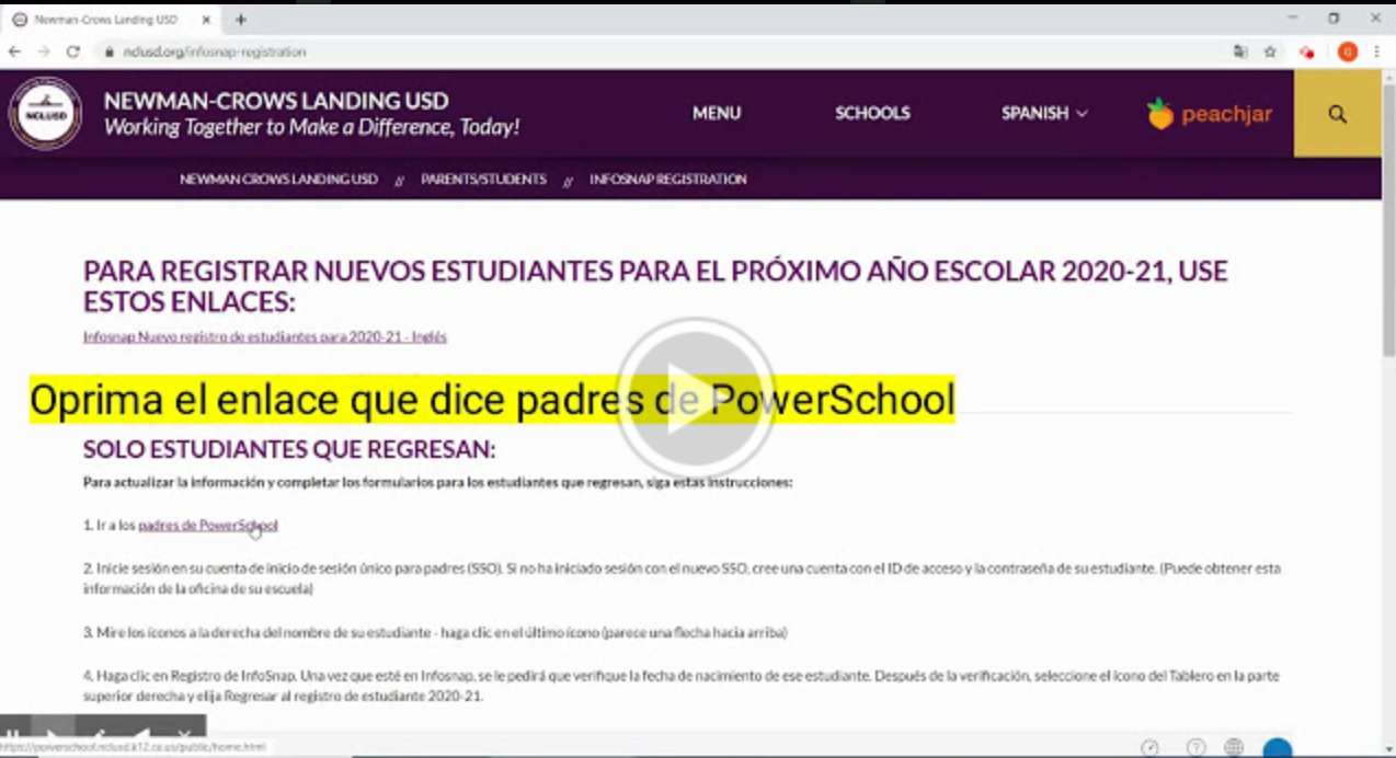 Link to Spanish Returning Student Video