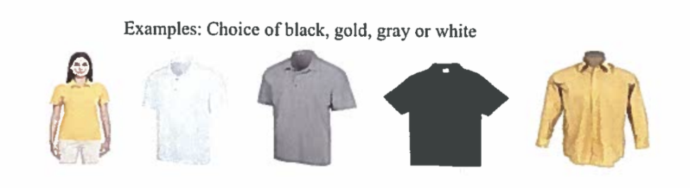 Examples of choices, black, gray, white, or gold.