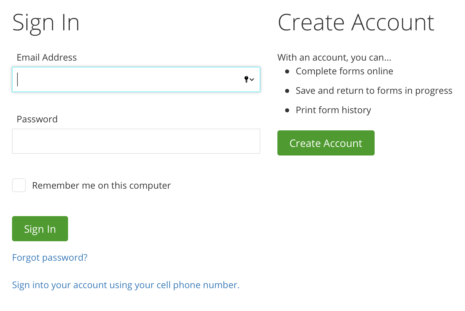 Account Creation Page