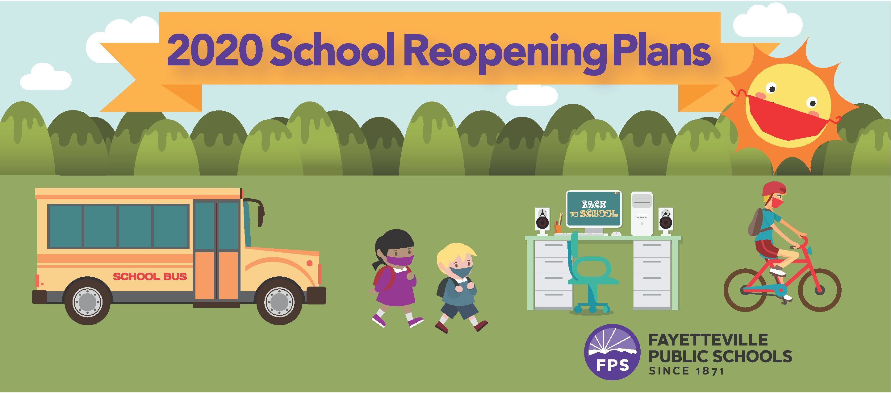 School Reopening Logo with schools bus and children in mask as well as a sun in a mask.