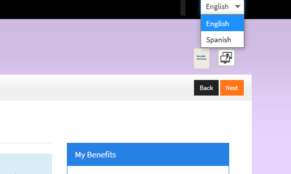 How to change website to Spanish instead of English - simply Click on the down arrow in the upper right hand corner of browser and choose Spanish.
