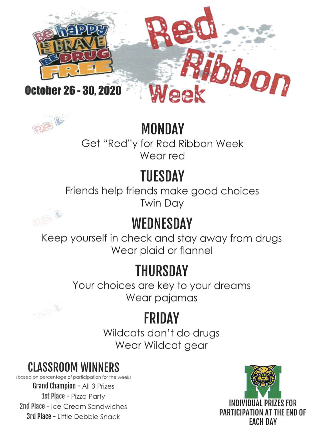 Red Ribbon Week Dress Up Days High School 2020