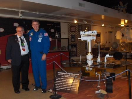 Ken Brandt, Director; Bill McArthur, Astronaut; and Marvin, full scale Opportunity rover model